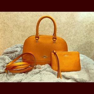 Orange Metallic Coach small bag with wallet